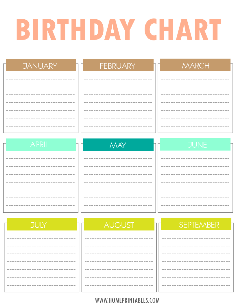 Your Free Printable Birthday Chart! - Home Printables