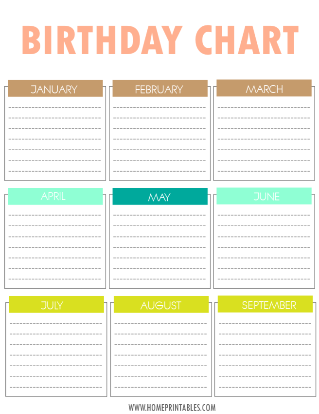 Birthday reminder template for Family birthday calendar template