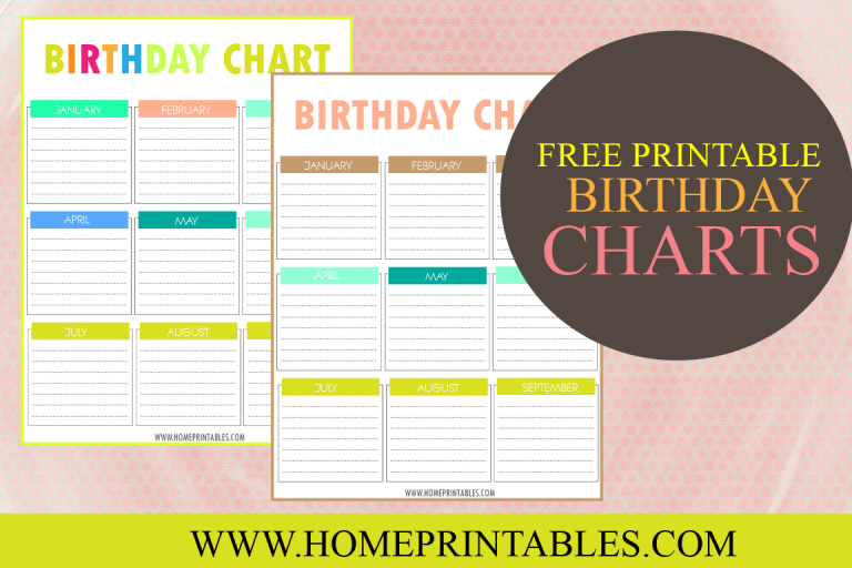 image about Birthday Chart Printable titled Your Absolutely free Printable Birthday Chart! - House Printables