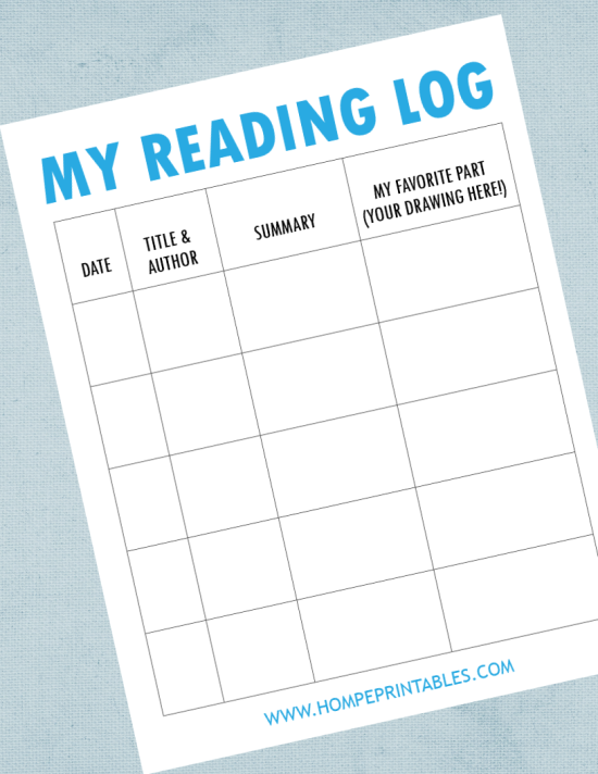free printable reading log with summary