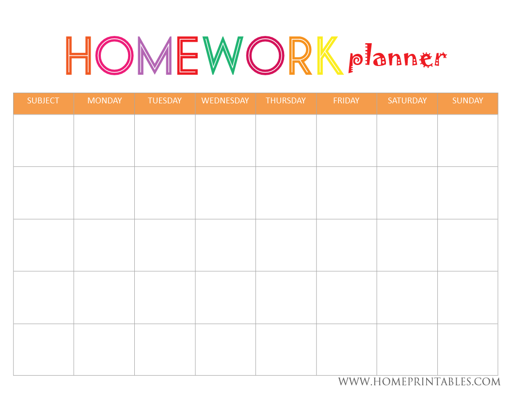 Looking For A Homework Planner Home Printables