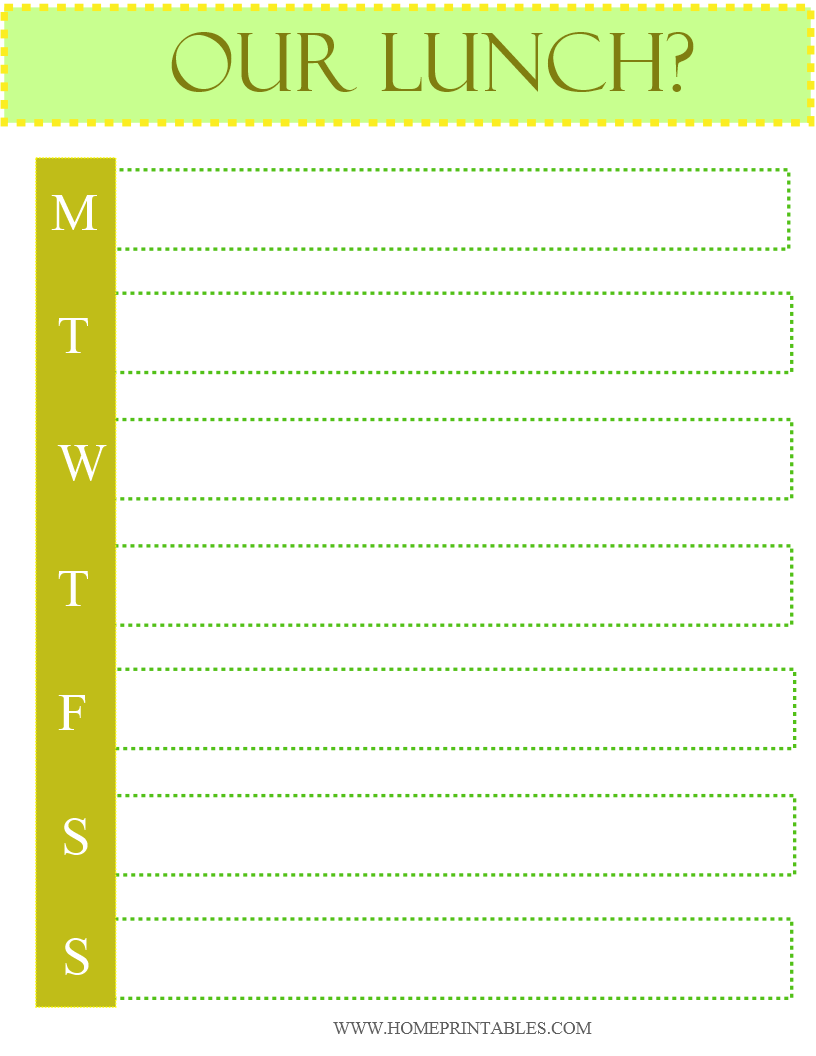 MEAL PLANNER BY HOME PRINTABLES